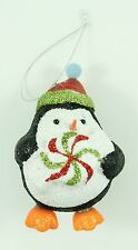 Vintage Foam Glitter Penguin Christmas Ornament Holiday Decoration