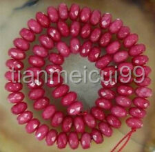 """Natural 5x8mm Facted Brazilian Ruby Abacus Loose Bead 15"""""""