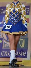 IRISH DANCING DRESS - ELEVATION DESIGN - BLUE WHITE AND GOLD