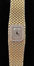 OUTSTANDING VINTAGE BAUME MERCIER 14K YELLOW GOLD DIAMOND LADIES WATCH 66 grams