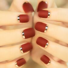 24Pcs Short False Nails Full Bordeaux Metal Frosted Turnover French Style Red