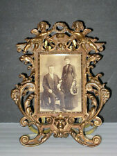 antique VICTORIAN BRASS PHOTO FRAME w/ Easel Back **OUTSTANDING**