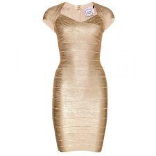 Auth HERVE LEGER - Tejana Metallic Gold Foil Bandage Dress MED NWT $1.4K