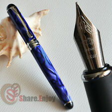 NOBLE JINHAO X750 ROYAL BLUE MARBLE AND SILVER 0.7MM BROAD NIB FOUNTAIN PEN
