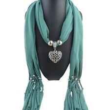 Women Winter Heart Gemstone Necklace Scarf Lady Tassel Warm Scarves