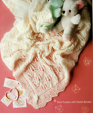 Frost Flowers Baby Shawl with Eyelet Border  2ply   Knitting Pattern