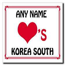Love Heart Korea South Personalised Coaster