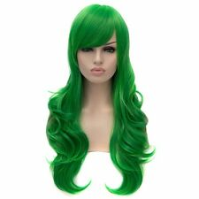 Womens Green Long Curly Wig Anime Cosplay Party Wigs Heat Resistant Wavy Wigs