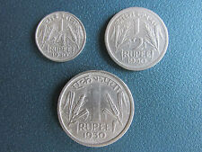 1 RUPEES,1/2 RUPEES AND 1/4 RUPEES SET OF 1950 - NICKEL COIN.......