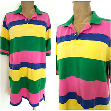 Vintage Polo Golf Shirt Size Large Striped Rugby Colorful Mens Short Sleeve
