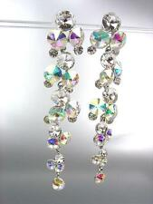 STUNNING Clear Iridescent AB Czech Crystals WATERFALL Long Dangle CLIP Earrings