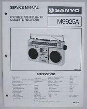 SANYO M9925A Cassette Boombox Original SERVICE MANUAL Ghetto Blaster M-9925A