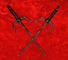 "Set of Two New 15"" Silver Ninja Sai of Octagon Design Karate or Martial Arts"