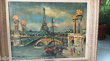Peinture Paris tour eiffel signée. Painting Paris tour eiffel signed