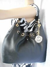 New MICHAEL KORS Large Black Drawstring Leather Shoulder Bag  Msrp $398 CHIC!