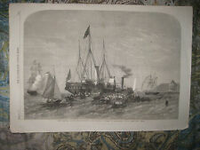 ANTIQUE 1862 TALL SHIP ALEXANDRIA EGYPT BRITISH MARITIME PRINT PRINCE OF WALES N