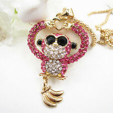 Gold Plated Pink Crystal Monkey Banana Heart Pendant Chain Sweater Necklace