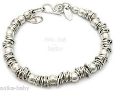 New Sterling Solid Silver 925 Sweetie Rings Beads Bracelet Handmade England UK