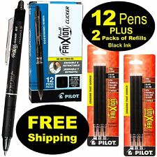 Pilot FriXion Clicker Erasable Black Gel Ink Pens, 12 Pens With 2 Pk of Refills