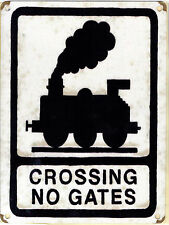 New 15x20cm CROSSING NO GATES railway train vintage enamel style metal road sign