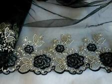 """Floral Embroidered Lace Trim/Fabric for Sewing with black tulle/ 24 """" Wide"""