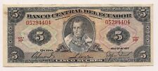 April 29,1977 Banco Ecuador Cinco Sucres Banknote --No Pinholes Nor Tears !!