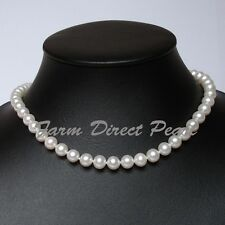 18 Inch AAAA+ 7-8mm White Pearl Necklace 14K White Gold Clasp Genuine Freshwater