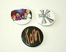 3 Vintage Korn Rock Music Concert Group Band Pin Button 1999 NOS New By Giant