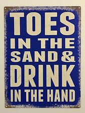 Toes in the Sand - Tin Metal Wall Sign