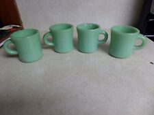 Vtg Set of 4 Heavy Fire King Jadeite Green Coffee Cup Mug Round Handle