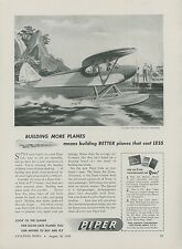 1946 Piper Cub Ad Super Sea Scout with Floats Water Landing Personal Airplane