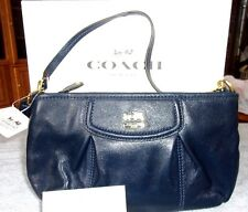 New Coach Madison Large Convertible Wristlet Navy Leather 46614 Great Gift!