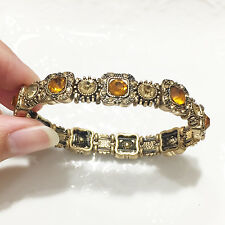 Turkish Vintage Round Gold Citrine Clear Topaz Tennis Bracelet Women Jewelry 55