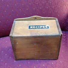 Vintage ENESCO Wood File Card Box Cabinet Mid Century Modern Recipe JAPAN Retro