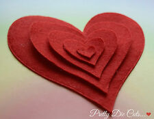 Red Felt Curved Hearts (set of 5) Die Cut Love Craft Embellishments