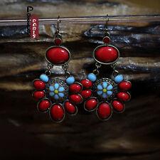 Boucles d`Oreilles Ethnique Rouge Fleur Turquoise Original Vintage Cadeau EE 1