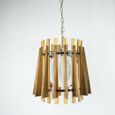 Vintage Mid-Century GILBERT Wood Slat Swag Pendant LIGHT Lamp NEW YORK
