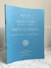 Catalogue de vente Bijoux Argenterie ancienne et moderne Objet de vitrine 1973