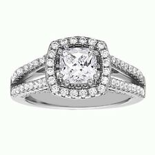 925 Sterling Silver Engagement Ring Cushion Cut White Cubic Zirconia