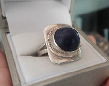 Attractive Modernist Silver & Blue Lapis Lazuli Ring  -  size N