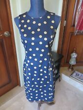 Women's Anne Klein Sleeveless Knee Length Dress Navy Blue Polka Dot NWOT SZ 4