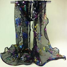 Women Vintage Colorful Flower Lace Gauze Veil Wrap Scarf Shawl Wrap
