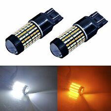 2pcs 120-SMD 7443 Super White Yellow LED Switchback Turn Signal Light Bulbs