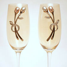 Pink Pearl Rhinestone Jewelry, White Crystal Gems, Champagne Flutes (Set of 2)