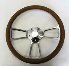 "70-77 Ford Mustang Tan and Billet Steering Wheel 14"" Shallow Dish Nice Wheel"