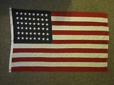 ANTIQUE 48 STAR RED WHITE BLACK NOT BLUE AMERICAN FLAG WW2 ERA MIDWEST ORIGIN