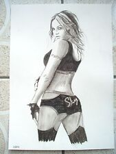 A4 Charcoal Sketch Drawing Wrestler Velvet Sky