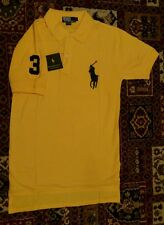 Mens Ralph Lauren Classic Polo Shirt Yellow Short Sleeve Size M Large Black Pony