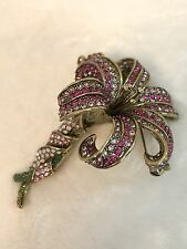 HEIDI DAUS Pink LOVELY LILY Flower Pin Brooch