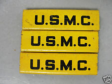 WW2 USMC MARINE CORP METAL INSIGNIA LABEL BANDING TAG CRIMP CLAMP YELLOW ANTIQUE
